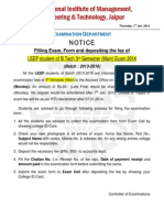 Exam Form Filling Notice for III Semester (LEEP) Exam 2014