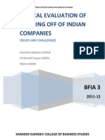 Evaluation of spin off of indian companies
