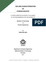 Synthesis and Characterization of Hydroxyapatite