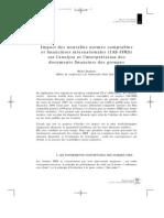 Impact des nouvelles normes comptables et financières internationales (IAS-IFRS) sur l'analyse et l'interprétation des documents financiers des groupes