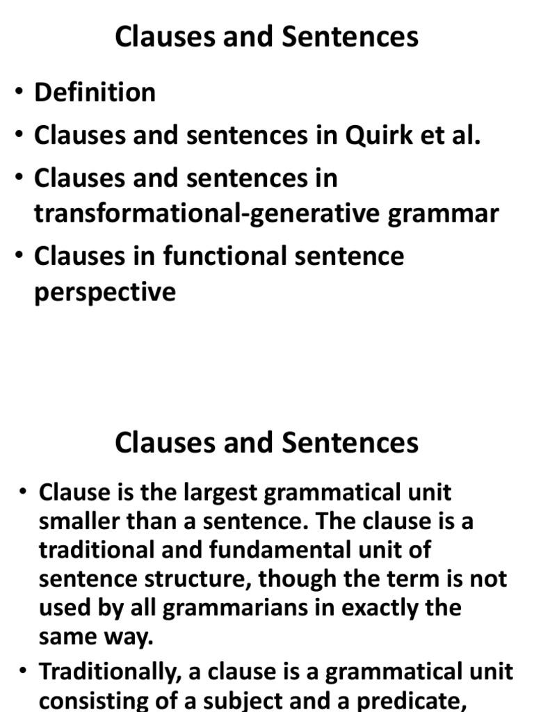 Clauses and Sentences | Clause | Sentence (Linguistics)
