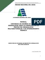 CRITERIOS DE DISEÑOS DE OBRAS  HIDRAULICAS PARA LA FORMULACION DE  PROYECTOS HIDRAULICOS  MULTISECTORIALES Y DE AFIANZAMIENTO  HIDRICO