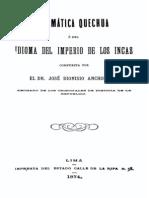 Gramatica Quechua o Del Idioma Del Imperio de Los Incas