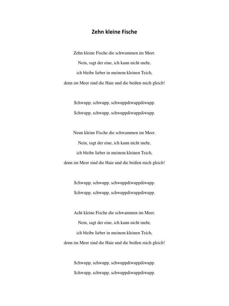 Zehn Kleine Fische Text
