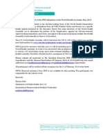 Invitation to Take Part in the IPSF Delegation at the World Health Assembly 2014