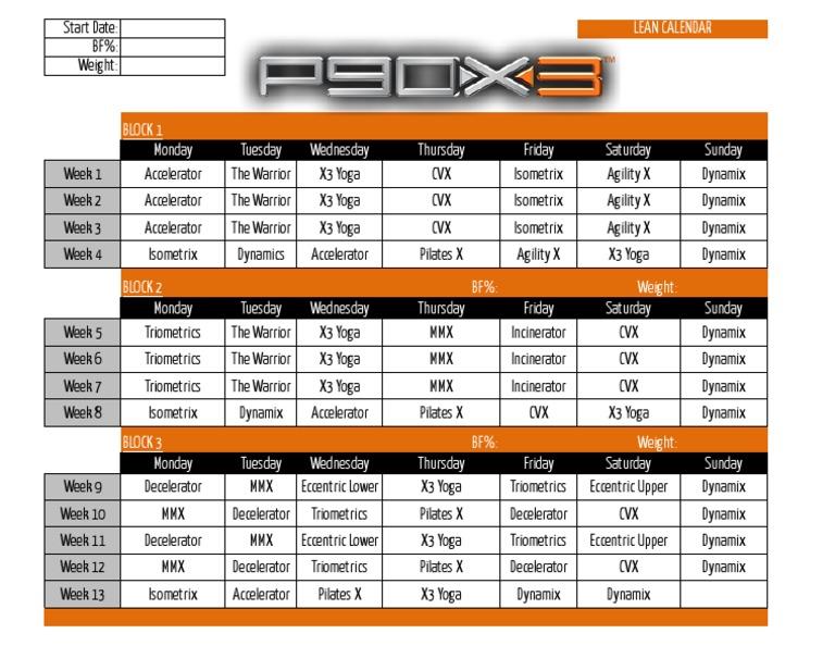 P90X3 Calendar Lean
