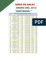 Horarios de Salats ENERO 2014 Ecuador