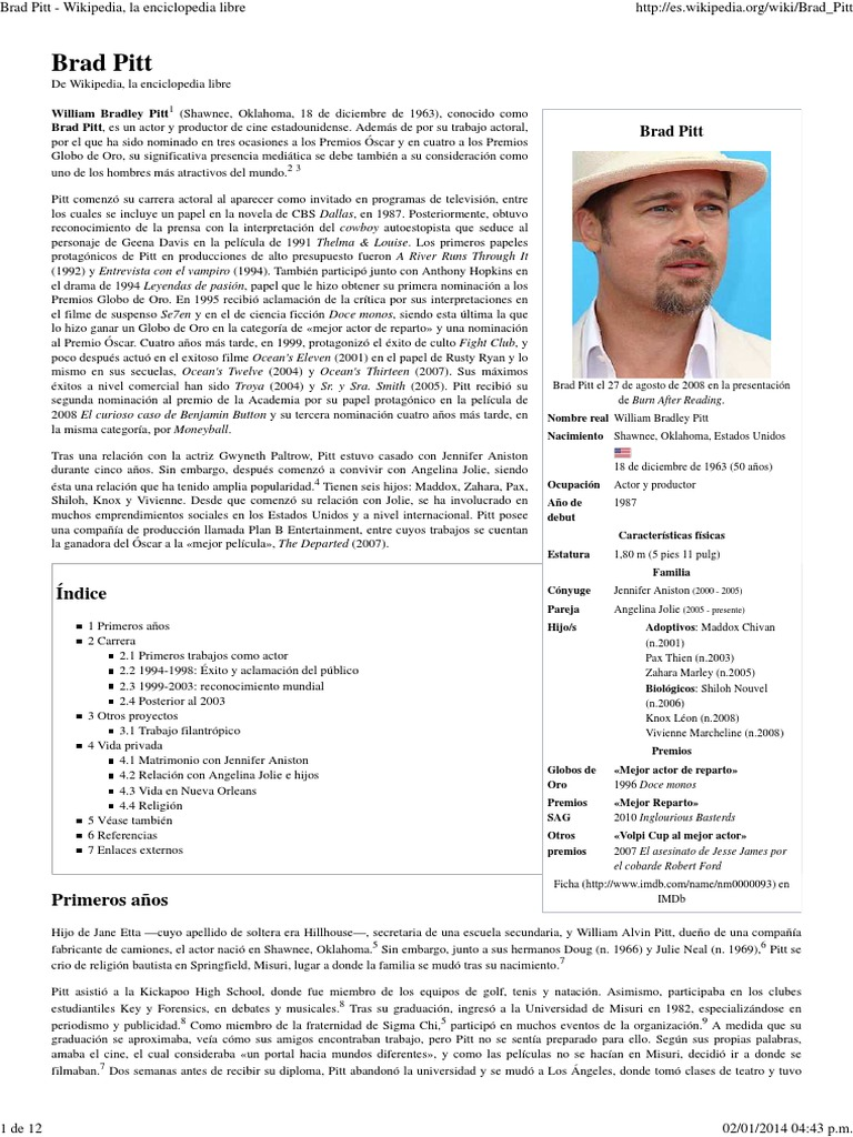 Brad Pitt - Wikipedia, La Enciclopedia Libre   Brad Pitt   Ocio