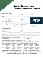 Whitehouse City Baseball / Softball Registration 2014