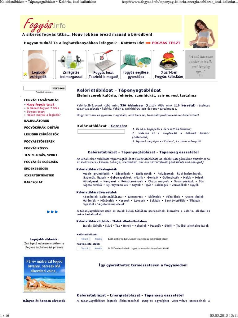 fogyás.info kalóriatáblázat heti 1 kg fogyás gyakori kérdések
