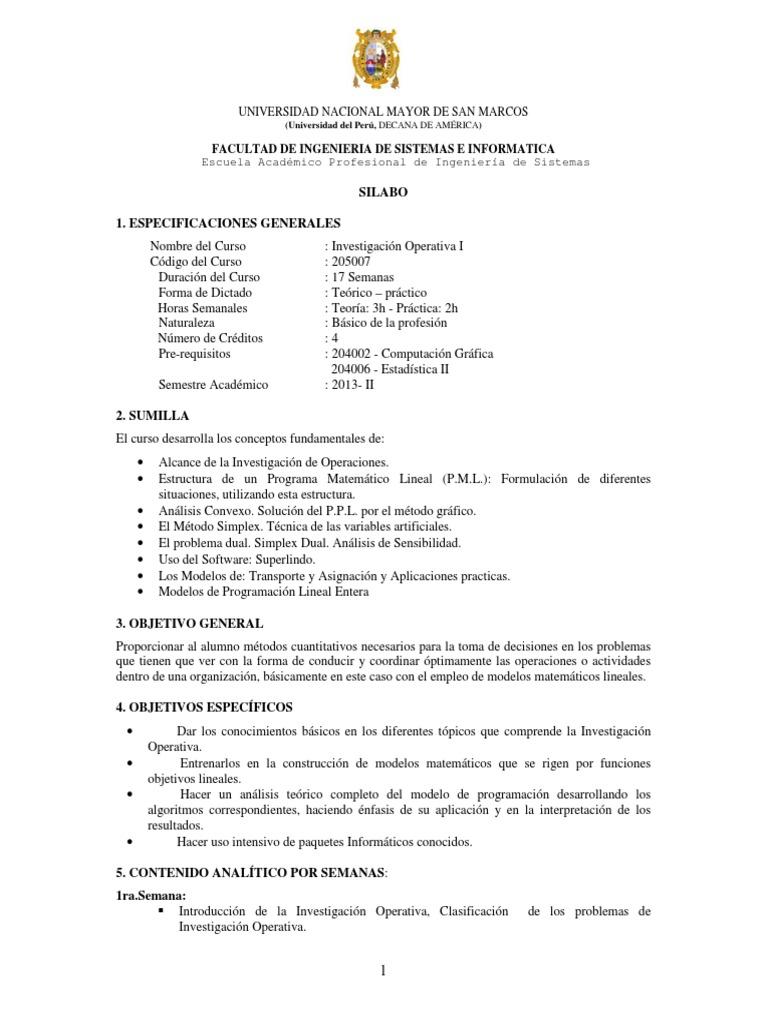 Investigacion Operativa I 2013 Ii Sistemas Investigación