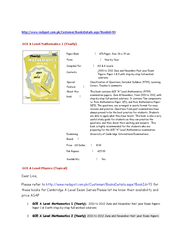 Redspot Books Past Year Papers | Gce Advanced Level (United