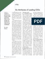 6 Attributes of Leading CEOs