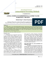 ANIMAL MODELS IN EXPERIMENTAL GASTRIC ULCER SCREENING-A REVIEW