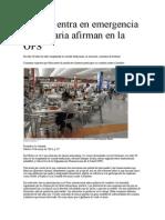 México entra en emergencia alimentaria afirman en la OPS