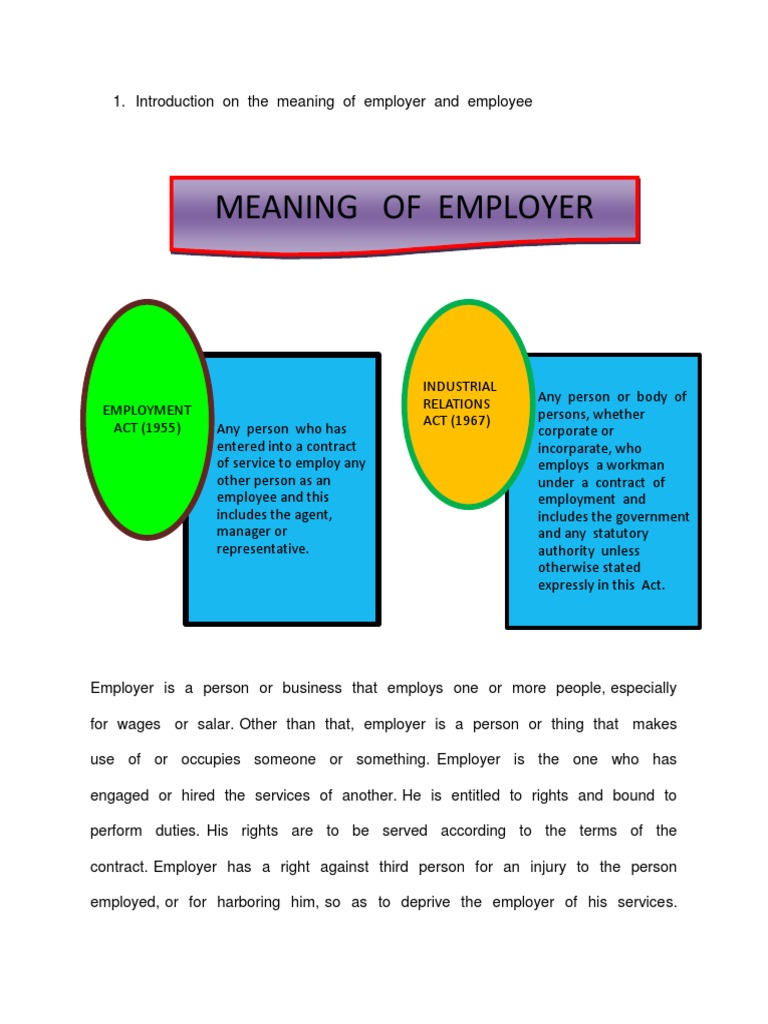 Introduction on the Meaning of Employer and Employee