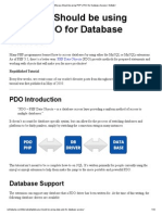 Why you Should be using PHP's PDO for Database Access