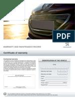 Warranty and Maintenance Record Peugeot Servicing Www Briocast Com
