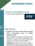 Generalizability Theory (GT)