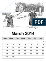 PRINTABLE MONLY CALENDAR March 2014