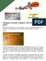 Campina Grande registra 184 homicídios em 2013