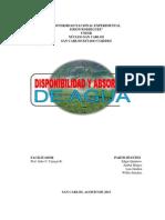 DISPONIBILIDAD Y ABSORCIÓN DE AGUA (MONOGRAFÍA-EDGAR QUINTERO)