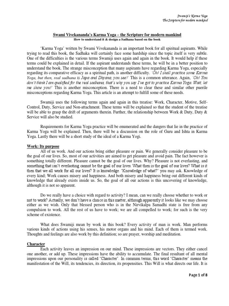 Swami Vivekanandas Karma Yoga The Scripture For Modern Mankind