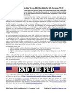 Jake Towne for Congress - Federal Reserve Handout
