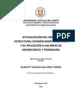 Actualización del modelo estructural division Mantos Blancos y su aplicación a las áreas de gepme