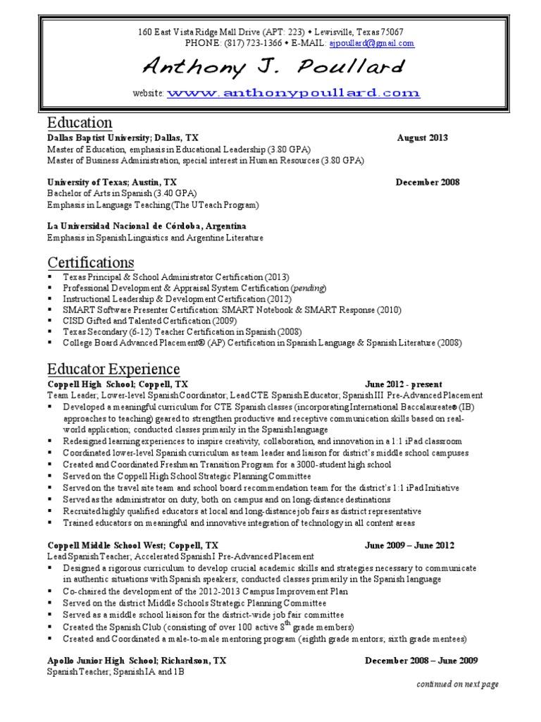 Resume | Secondary School | University Of Texas At Austin