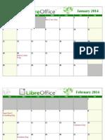 LibreOffice 2014 Calendar With USA Holidays Landscape White