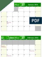 LibreOffice 2014 Calendar With USA Holidays Landscape