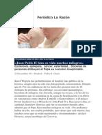 Periodico La Razón, milagros de Juan Pablo II