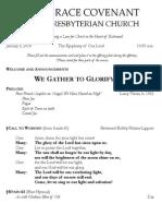 Worship Bulletin January 5, 2014