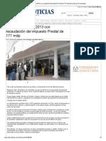 02-01-2014 'Cierra Reynosa el 2013 con recaudación del impuesto Predial de 177 mdp'.