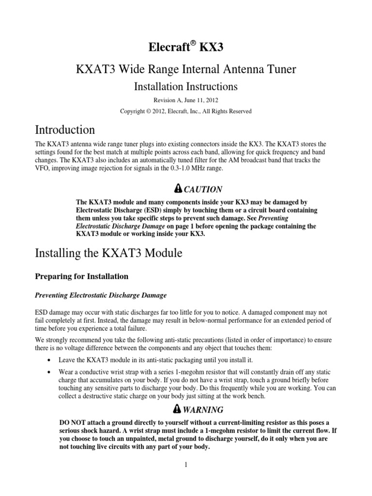 Elecraft KXAT3 Option Rev A | Electrostatic Discharge