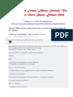 Sunni - Shia Debate 2014 Abu Jaiyana Vs Ahmend Zulfiqar Ali January 1 – 4 2014 at Facebook.com