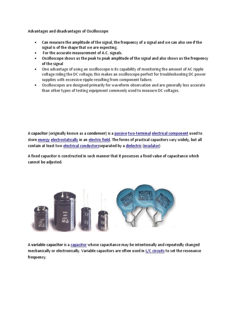 Types of capacitors: advantages and disadvantages