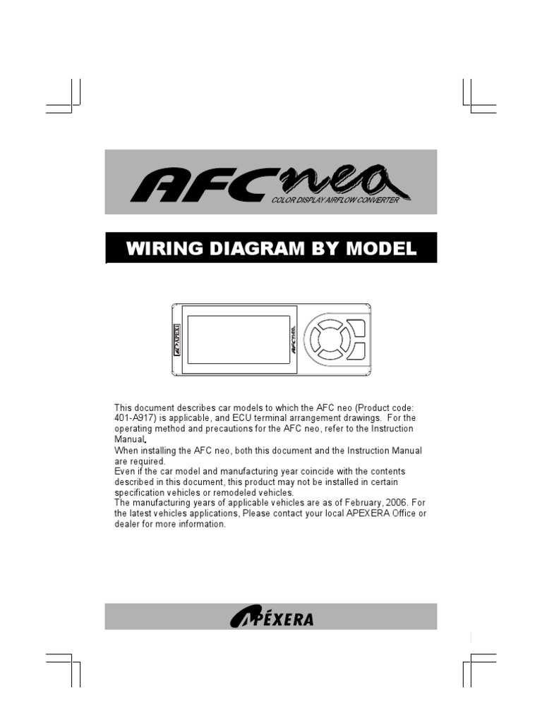 Apexi Integration Installation Manual: AFC nea color display Wiring ...