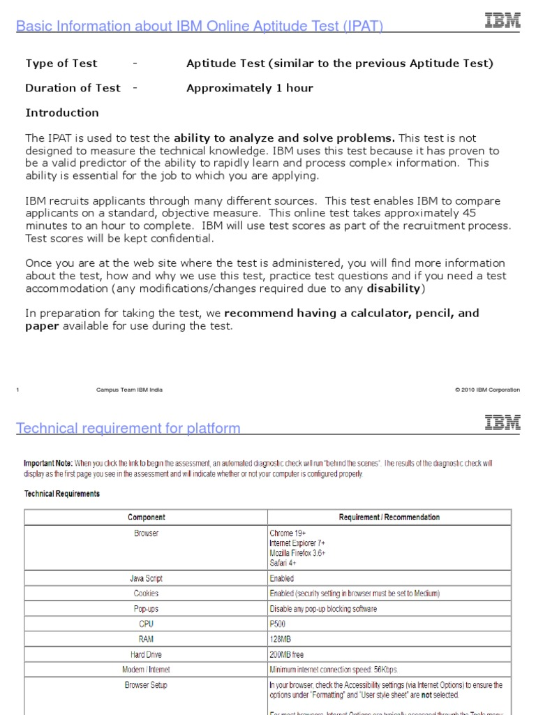 4627 ibm online aptitude test ipat ibm