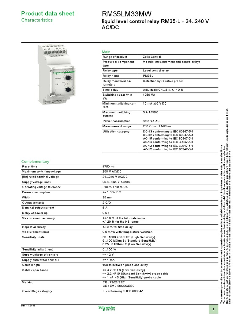 Zelio Control Rm35lm33mw Relay Cable Nominal Current