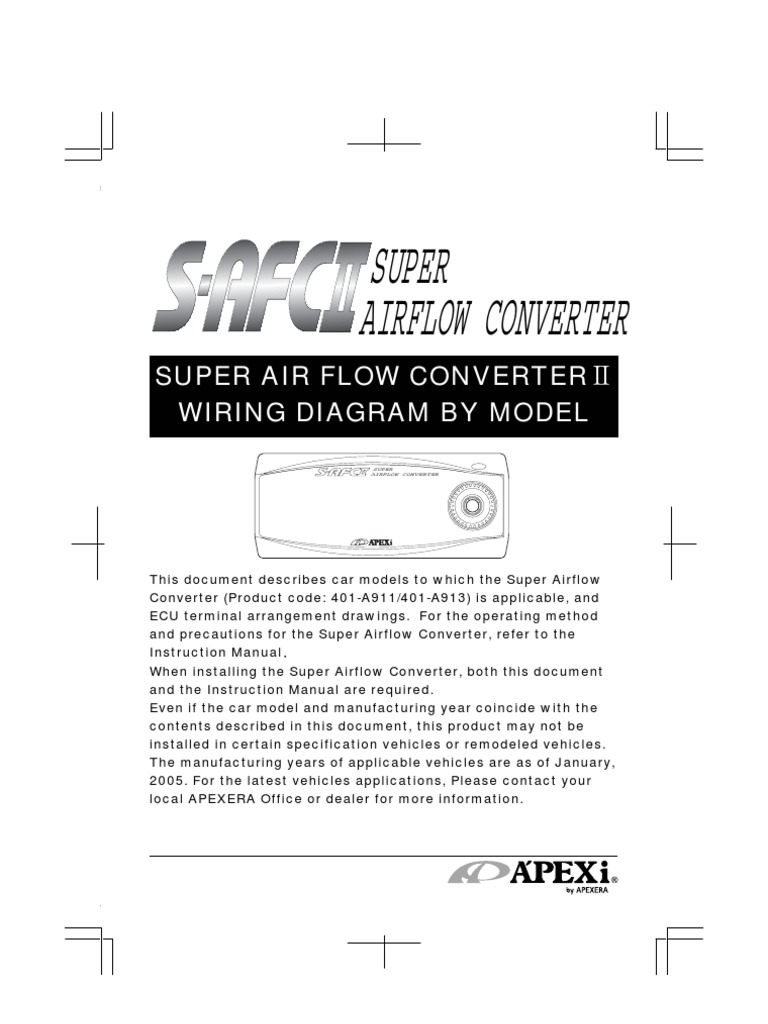 Apexi Installtion Instruction Manual  S  Super Air Flow Converter U2161 Wiring Diagram