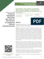 Evaluation of Meropenem, Imipenem and Ertapenem Impregnated MacConkey Agar Plates for the Detection of Carbapenem Resistant Enterobacteriaceae