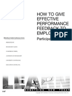 Workbook - How to Give Effective Performance Feedback to Employees