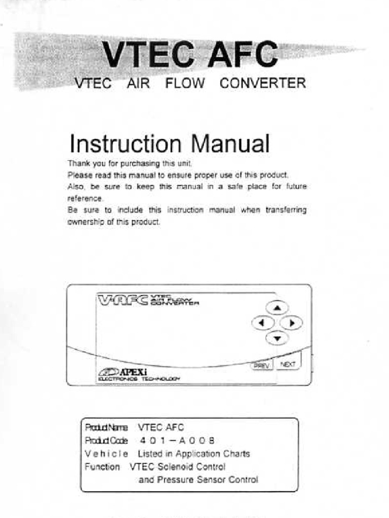 Apexi Installation Instruction Manual: VTEC Air Flow Converter