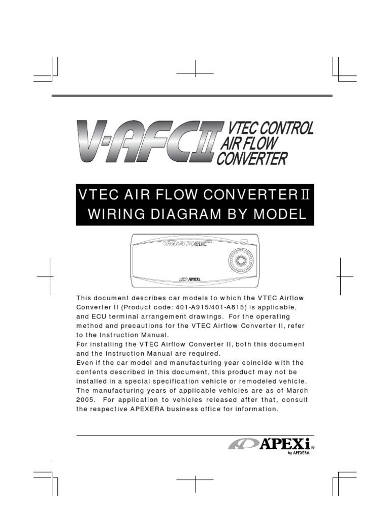 Apexi Installation Instruction Manual: Wiring Diagram VTEC Airflow ...