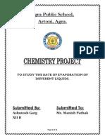 Chemistry Project on Evaporation