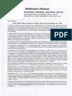 Mahindra Finance Subdivision & AoA MoA Alteration (E Voting)