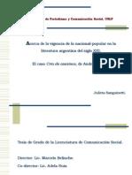 Acerca de La Vigencia de Lo Nacional-popular en La Literatur