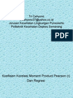 Statistik Koefisien Korelasi Moment Product Pearson & Regresi